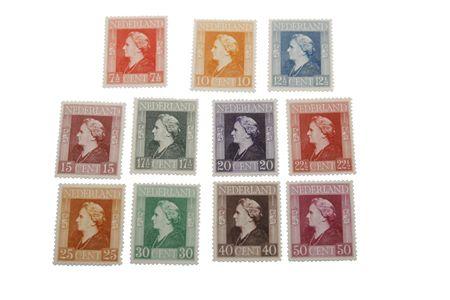 wilhelmina: Different vintage stamps with head of Dutch Queen Wilhelmina (1890-1948) Editorial