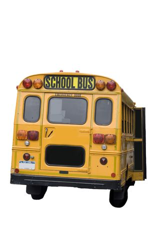 Yellow schoolbus from New York city isolated on white photo