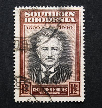 apartheid: vintage postage stamp of Cecil John Rhodes, founder of Rhodesia former Zimbabwe