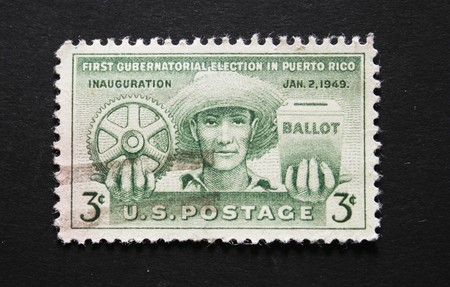 Picture On Black Background Of A Three Cent US Postage Stamp Commemorating The First Gubernatorial Election