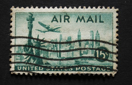 Vintage american postage stamp with the statue of liberty