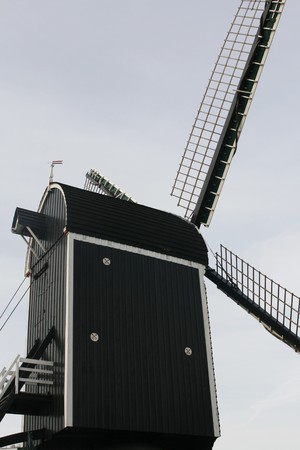 rembrandt: Old wooden mill (17th century) n Leiden, the Netherlands seen from the alley where Rembrandt was born and lived. Stock Photo