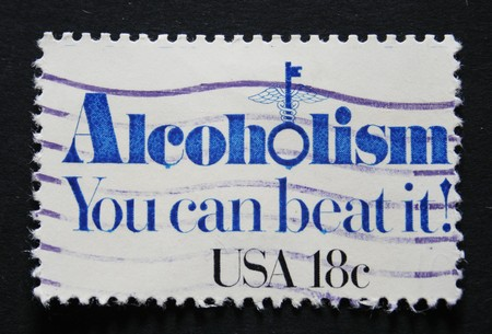 American cancelled postage stamp with text: Alcoholism, you can beat it.