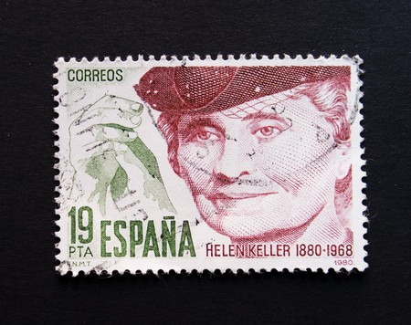 helen: Spanish postage stamp with image of Helen Keller Stock Photo