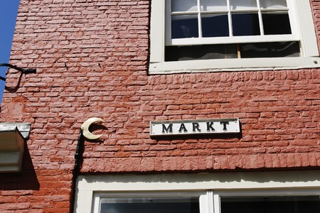 delft: Old Dutch marketstreet name in medieval town of Delft  Stock Photo