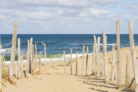 Sandy beach and ocean at Cape Cod Stock Photo