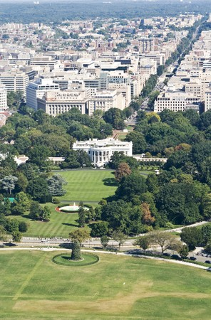 angle views: white house seen from washington monument Stock Photo