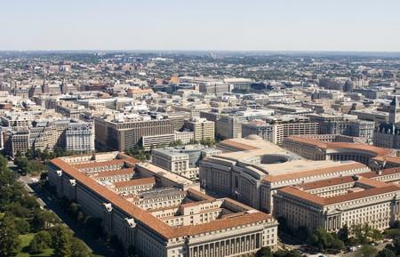 ハイアングルビュー: ワシントン DC のワシントン記念塔から高角度のビュー 写真素材