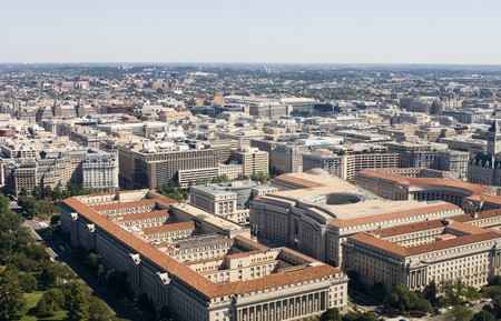 aerial photograph: High angle view from washington monument on Washington DC