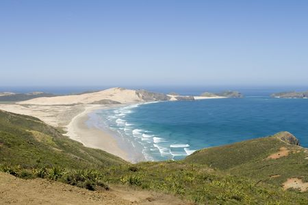 mile: View on ninety mile beach North Island, New Zealand