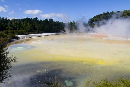 Champagne Pool at Waiotapu Thermal Wonderland in rotorua New Zealand photo
