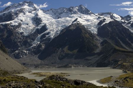 highest: Mount Cook is the highest mountain of New Zealand with 3754 meters Stock Photo
