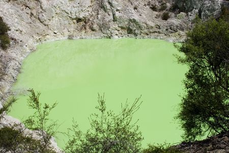 ferrous: Bright green water of Devils Batch volcanic craterin Rotorua, New Zealand. (Green color is caused by the sulphur and ferrous salts in the water)  Stock Photo