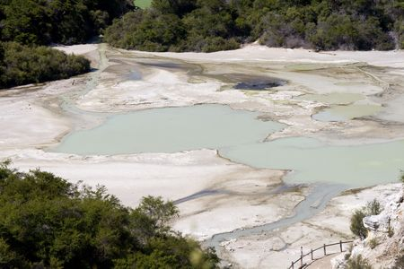 Sulphur lakes at Waiotapu in Rotorua, New Zealand photo