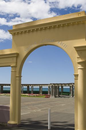 Yellow art deco arch in Napier, New Zealand from the 1930s. photo