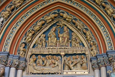 div: The Bergportaal aka Hillportal on the south side of the Church was built between 1225 and 1250. It is called Bergportaal, because it is situated on a slope of the second terrace of the river Meuse. The tympanum over the door of the Hillportal is div