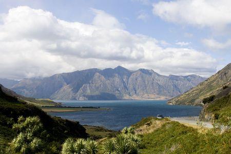wakatipu: View on Lake Wakatipu near Queenstown in New Zealand Stock Photo