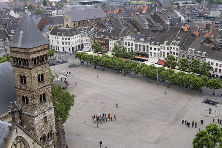 high angle: High angle view on medieval town of Maastricht in the netherlands,