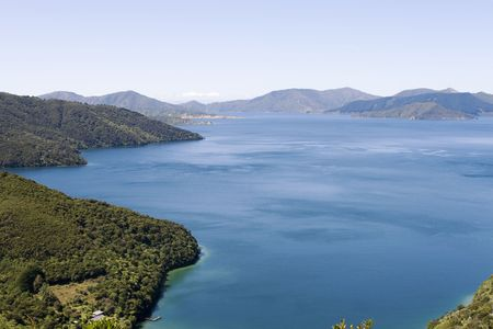 marlborough: Part of the Queen Charlotte track at Marlborough Sounds in New Zealand