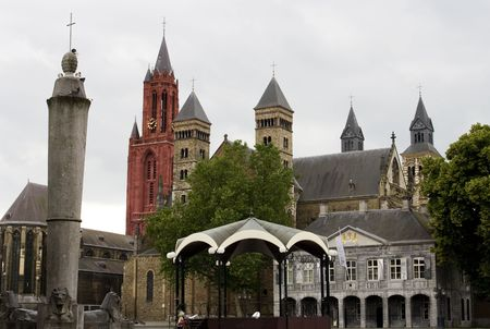 Medieval Vrijthof in Maastricht, the Netherlands with many different churches. Stock Photo