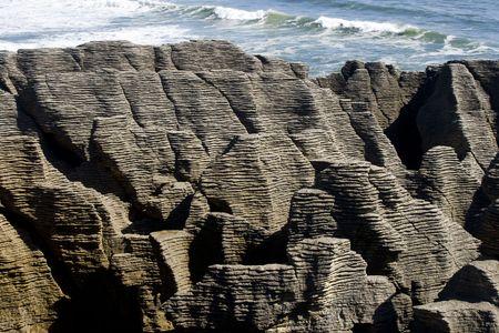 erosion: Beautiful erosion of thousands of years water beating on rocks of Punakaiki in New Zealand