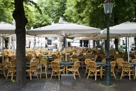 parasols: Big outdoor cafe in Europe