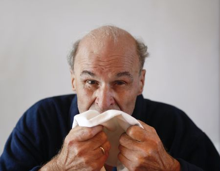 80 year old: 80+ year old man sneezing with the flue
