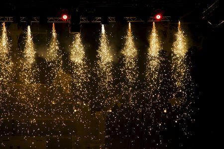 stage performance: Beautiful sparkling spotlights in theatre