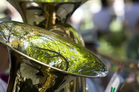 Close up of tuba with reflection of green tree Stock Photo - 5760124