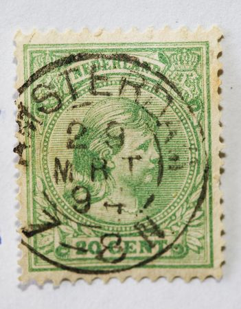 wilhelmina: Antique Dutch postage stamp with image of Queen Wilhelmina as young girl  postmarked 1894