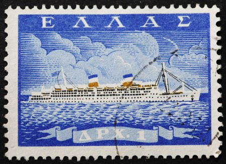 Greek postage stamp with image of a ship Stock Photo - 6029926