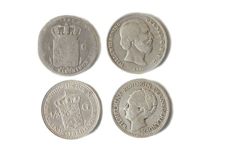wilhelmina: Two antique half guilder silver dutch coins from 1847 and 1928 with head and coin sides. Images of King William III and Queen Wilhelmina
