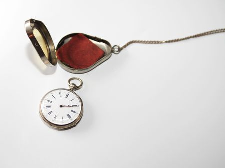 Antique watch and silver case photo
