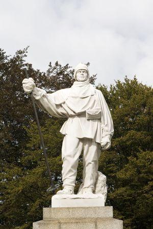 scott: Statue of Robert F. Scott - Famous English explorer of Antarctica, in Christchurch, New Zealand.  Stock Photo