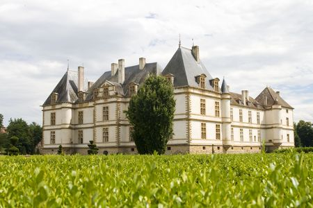 The castle of Cormatin in the Burgendy region in France. The existing building was started in 1605. It used the foundations of a fortified castle built by Henri du Ble in 1280.