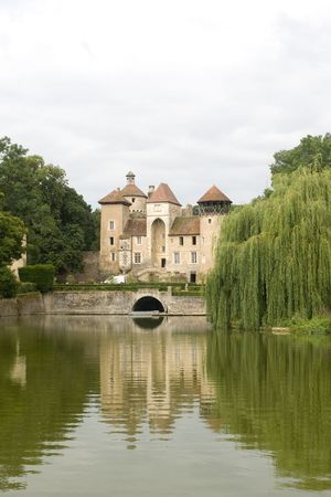 Small beautiful medieval castle in Burgundy France photo