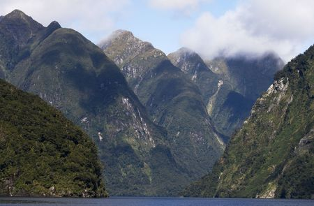 austere: Doubtful Sounds in New Zealand Stock Photo