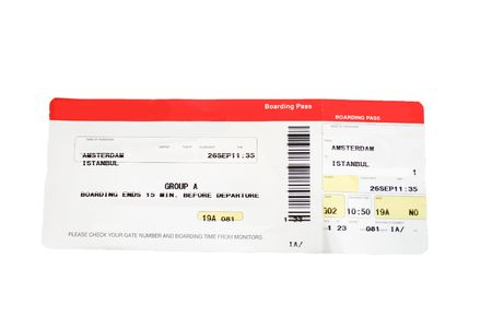 removed: Isolated red and white boarding pass. Names and airline removed. Stock Photo