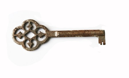 Vintage rusty key on white Stock Photo - 7099069