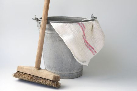 zinc bucket with floor cloth and floor brush photo