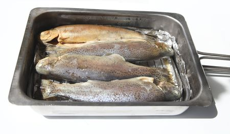 Four fresh trouts in smoker oven. Stock Photo - 7119650