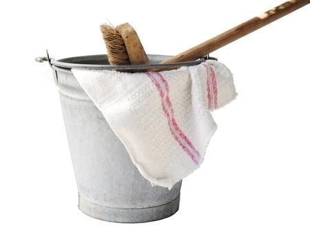 zinc bucket with floor cloth and floor brush