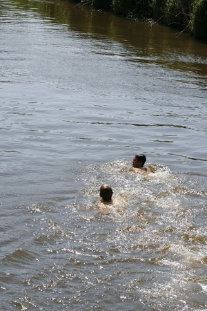 Two boys swimming in river Stock Photo - 7621211