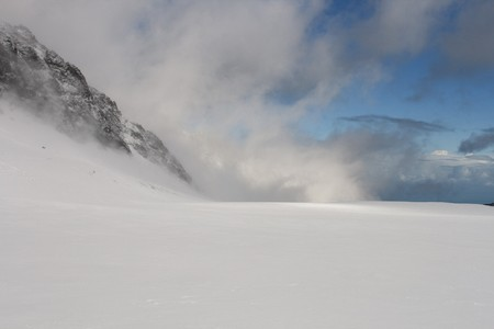 Beautiful icy landscape on top of glacier Franz Joseph in New Zealand photo