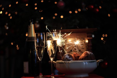 champagne, sparkles and oliebollen photo