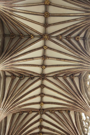 fluting: The vaulted celiing of Exeter Cathedral is the longest gothic vault in the world.