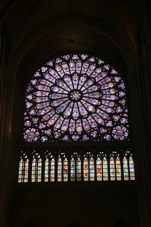 The great stained glass window of the Notre Dame in Paris