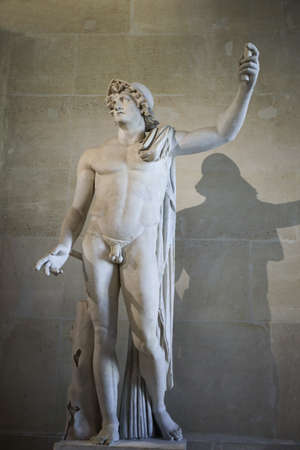 alexander great: Marble statue of Alexander the Great (2nd century AC) at the Louvre. Head is antique, and has been attached to another  body in the 19th century in Itlay Stock Photo