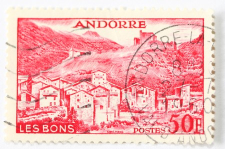 Andorra postage stamp postmarked 1960 photo