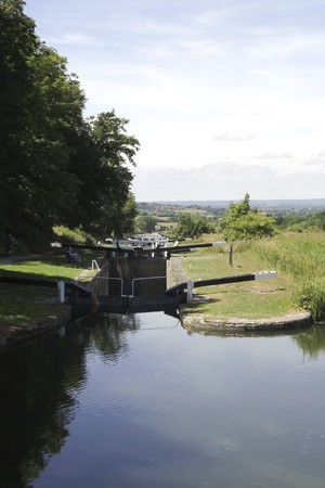avon: The Caen Hill locks, on the Kennet and Avon Canal, Devizes, Wiltshire, England